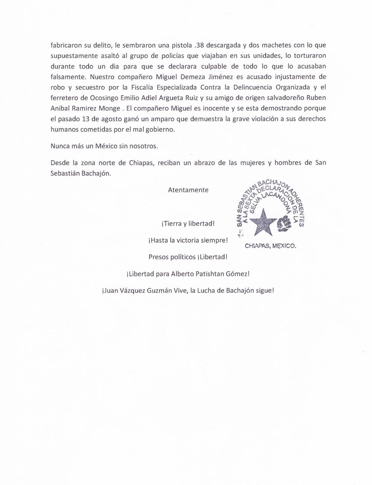 Ejidatarios de San Sebastían Bachajón, adherentes a la sexta, exigen libertad de Alberto Patishtán, de Antonio Estrada Estrada y Miguel Demeza Jiménez