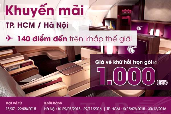 Vé máy bay đi châu âu khứ hồi trọn gói của Qatar Airways chỉ từ 1000 USD