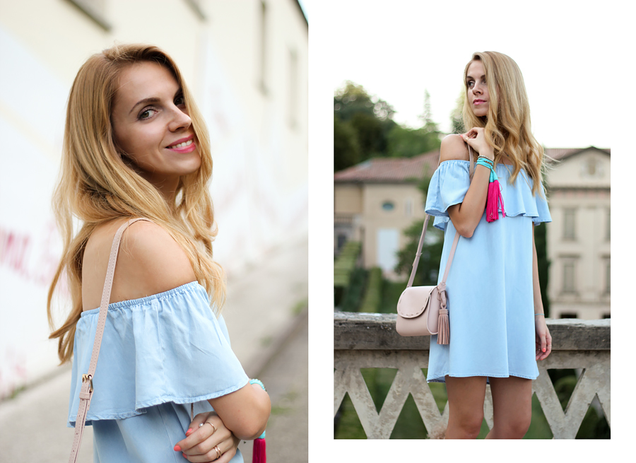 off shoulder denim dress, lace-up sandals, tassel bracelet