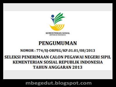 Formasi CPNS 2013 Kementerian Sosial RI, Lowongan CPNS 2013, Info CPNS 2013, Lowongan CPNS 2013 Kemensos RI