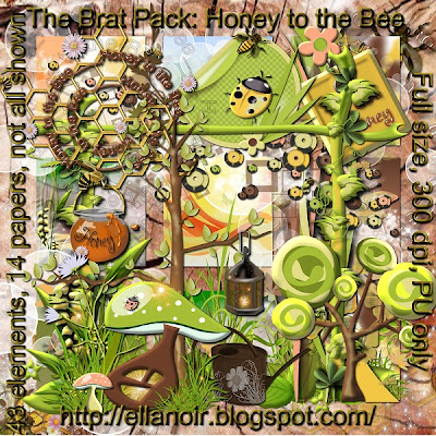 "Free scrapbook kit ""Honey to the bee"" from Ellanoir"