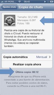Backup en iCloud de mensajes y fotos de WhatsApp #4