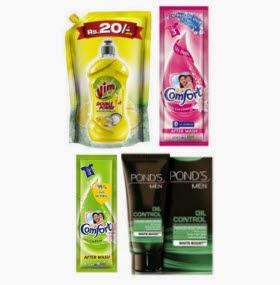 Amazon : Ponds Men Face Moisturiser 20 gm Rs. 1, Vim Dishwash lemon pouch 120ml Rs. 1, Comfort Fabric Conditioner 20ml Rs. 1