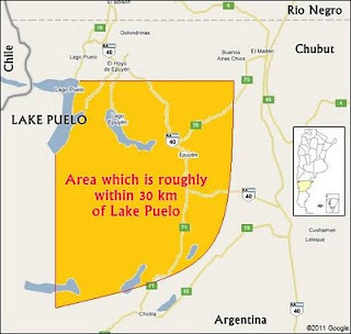 Lake puelo map, Phoenician symbol location