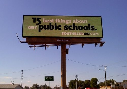 South Bend, Indiana, Lee MacMillan, billboard, Pubic Schools