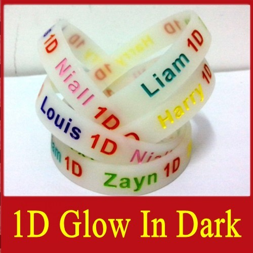 HOT NEW ONE DIRECTION Glow In The Dark Silicone Wristband Bracelets Lot of 25pcs