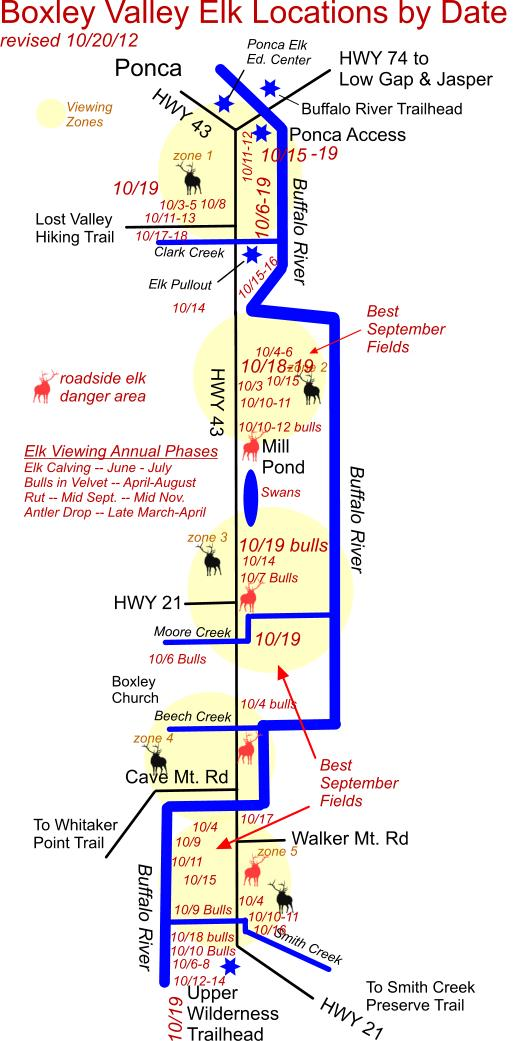 Elk Herd Locations Updated for 10/19 PM