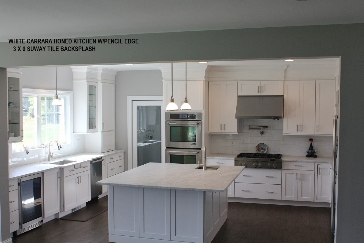 White Carrara Marble Kitchen Countertops   New Construction
