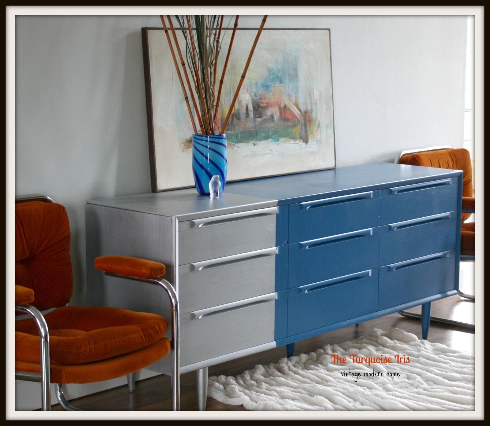 iris vintage modern hand painted furniture mid century modern