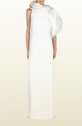 asimetrik kesim elbise, kolsuz elbise, gece elbisesi, beyaz elbise, beyaz abiye, uzun abiye, uzun elbise