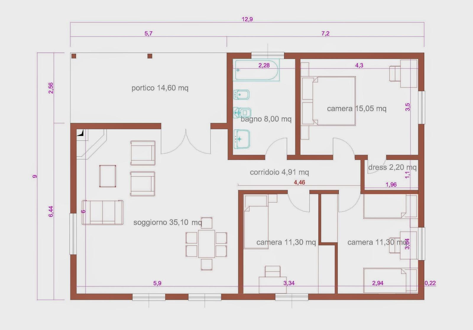 Progetti di case in legno casa 102 mq portico 15 mq for Progetti di case moderne a un solo piano