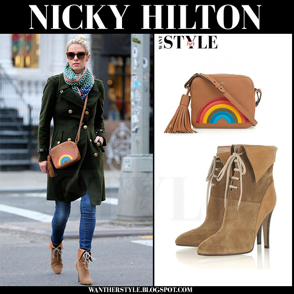Nicky Hilton in green burberry coat and brown suede chloe catlyn ankle boots what she wore streetstyle