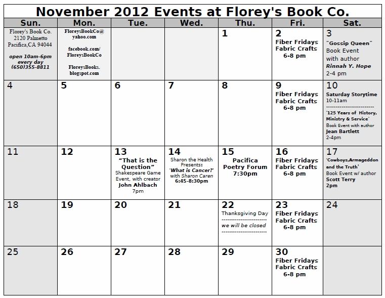 November Calendar 2012 : Florey s book co november calendar of events at