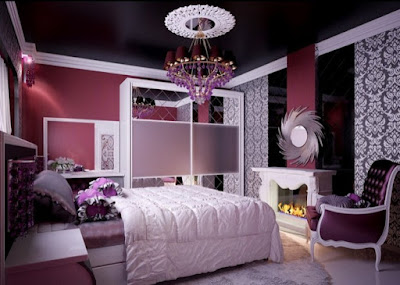 Deluxe Cool Teenage Girl Bedroom Design Plans With Purple Unique Chandelier And Comfortable Bed Plus Classic Accent Chair Together With Classic Pattern Bedroom Wallpaper