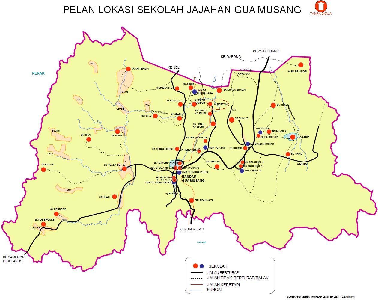 Gua Musang Malaysia  City new picture : SK Bertam Gua Musang: Lokasi Sekolah