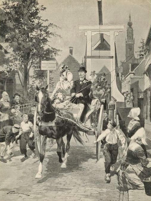 Etiquipedia etiquette wedding customs and costumes picturesque holland newly wedded couples returning from church at edam m4hsunfo