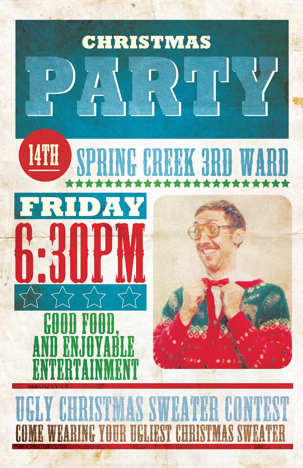 Pixel Dust Graphic Design Blog: Christmas Party Poster (Ugly Sweater ...