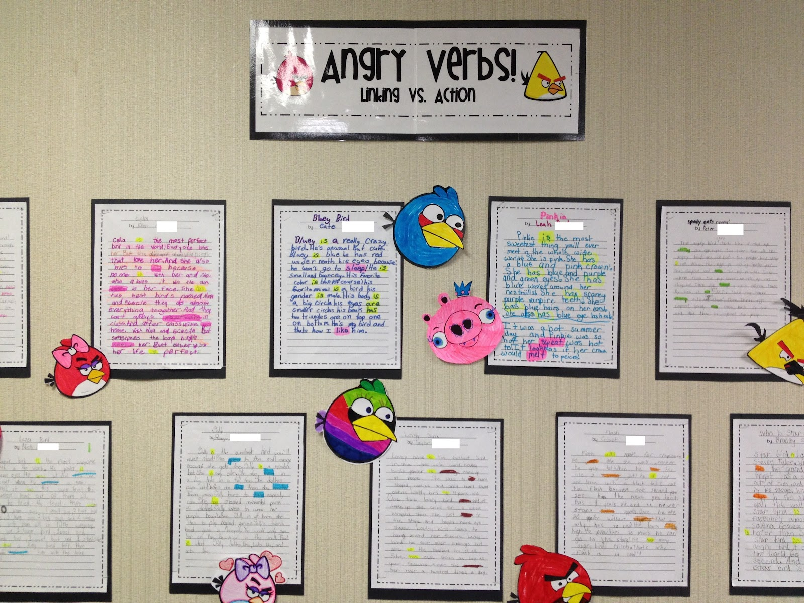 the heart of rd angry verbs list of linking verbs we know and each child highlighted them yellow throughout the story finally everyone highlighted their action verbs a different