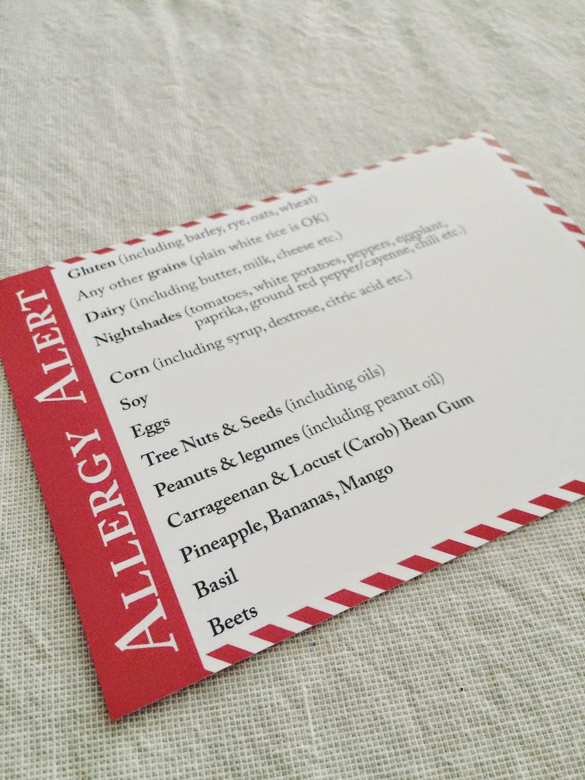 AIP Allergy Card