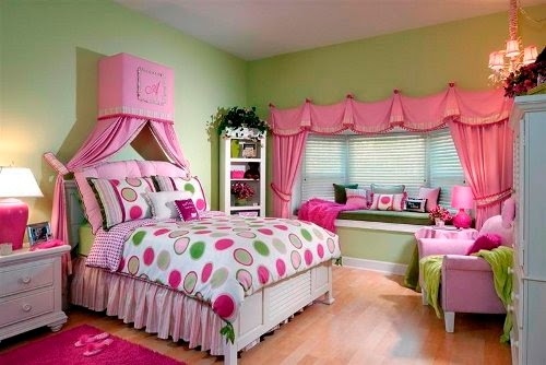 beautiful girls bedroom with luxurious pink curtain