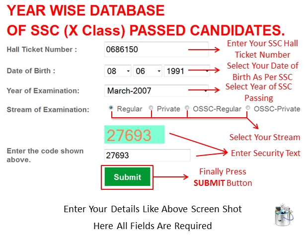 guidance for entering candidate details in bseap site for ssc marks memo