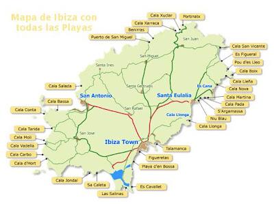 Ibiza mapa de la isla