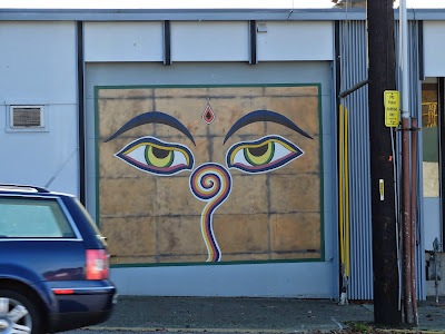 Wisdom Eyes of Buddha Garage Door (N 34th @N Northlake Pl)