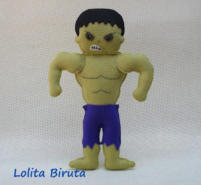 Boneco os vingadores Hulk em feltro