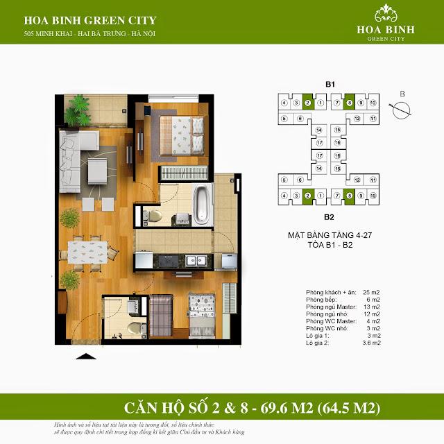 Mặt bằng căn 2 - 8 chung cư Hòa Bình Green City