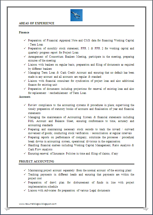 Excellent Work Experience Chartered Accountant U0026 Company Secretary Resume  Sample