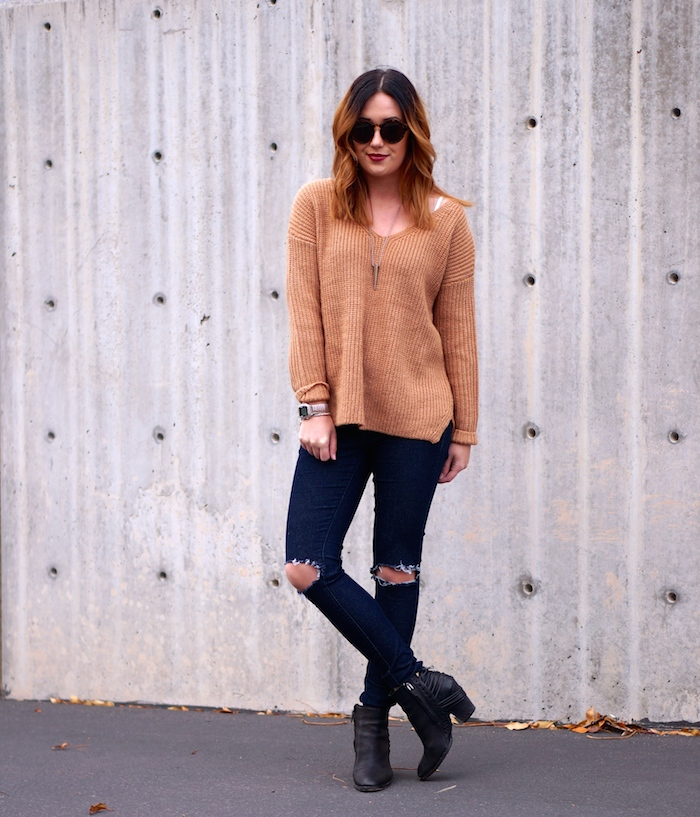oasap camel  knit sweater, forever 21 jeans