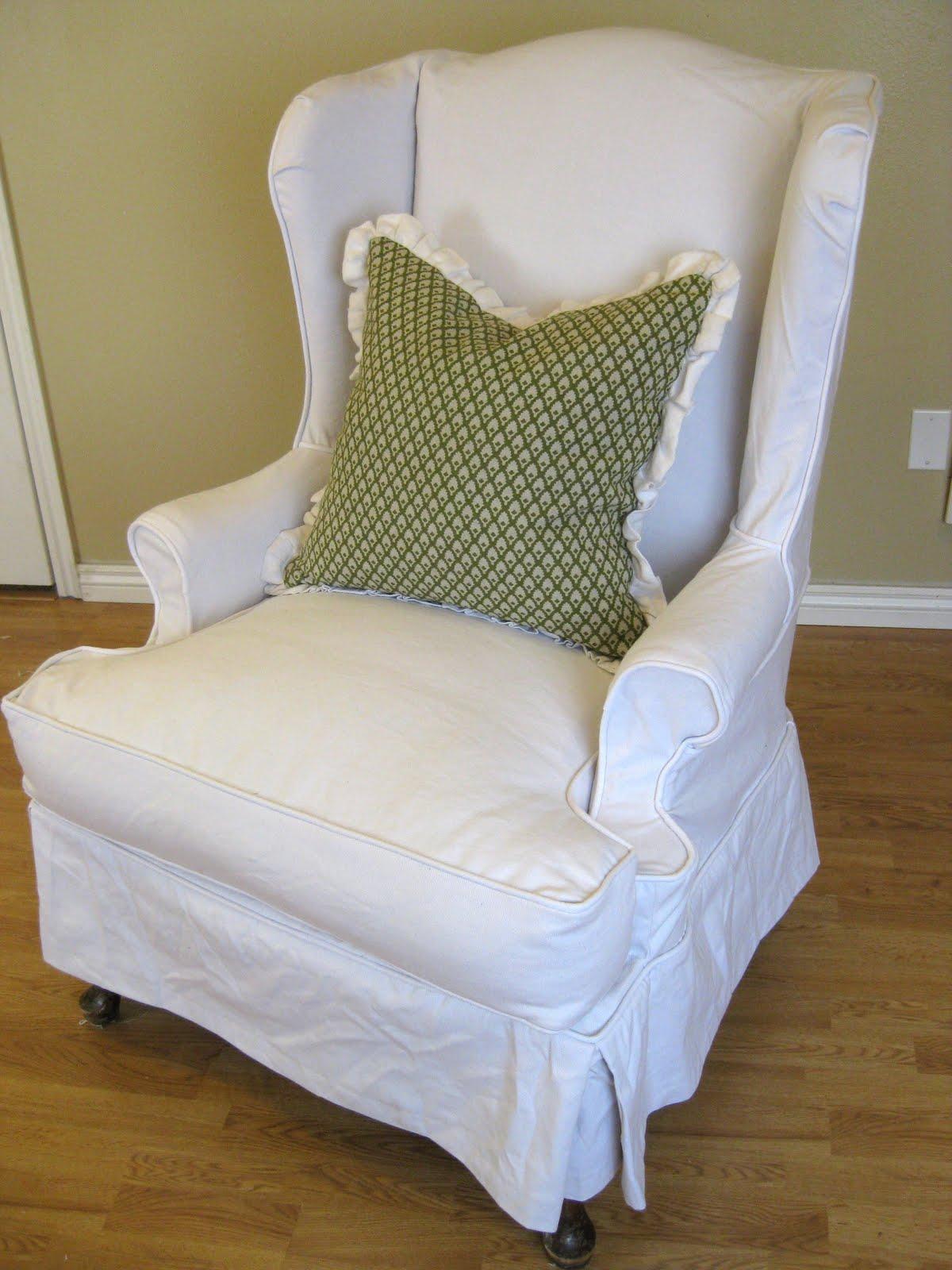 Custom slipcovers by shelley white denim wingback chair for Furniture slipcovers for wingback chairs