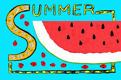 Summer image of watermelon, ladybugs, flowers, and ants. Pen and Ink with Digital Colour Drawing by © Ana Tirolese