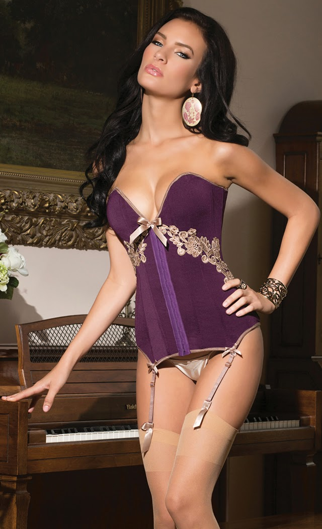 Microfiber and Powernet Fully Boned Corset with Removable Straps and Garters