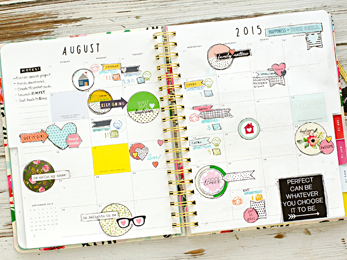 mixed media creative planner - August 2015 full month decorating