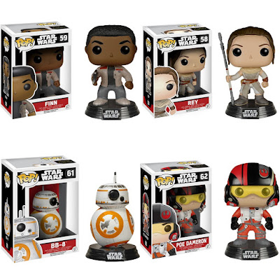 Star Wars: The Force Awakens Pop! Vinyl Figure Series by Funko - Finn, Rey, BB-8 & Poe Dameron