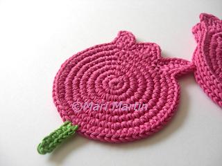 Crochet Coasters Pink Tulips