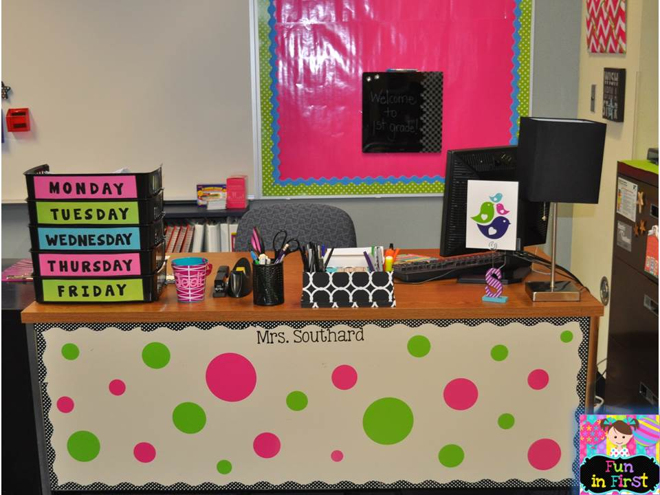 My room is done classroom pictures fun in first grade - Classroom desk organization ideas ...