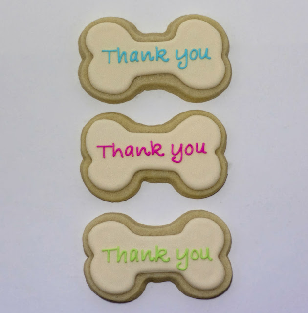 Dog bone thank you cookies