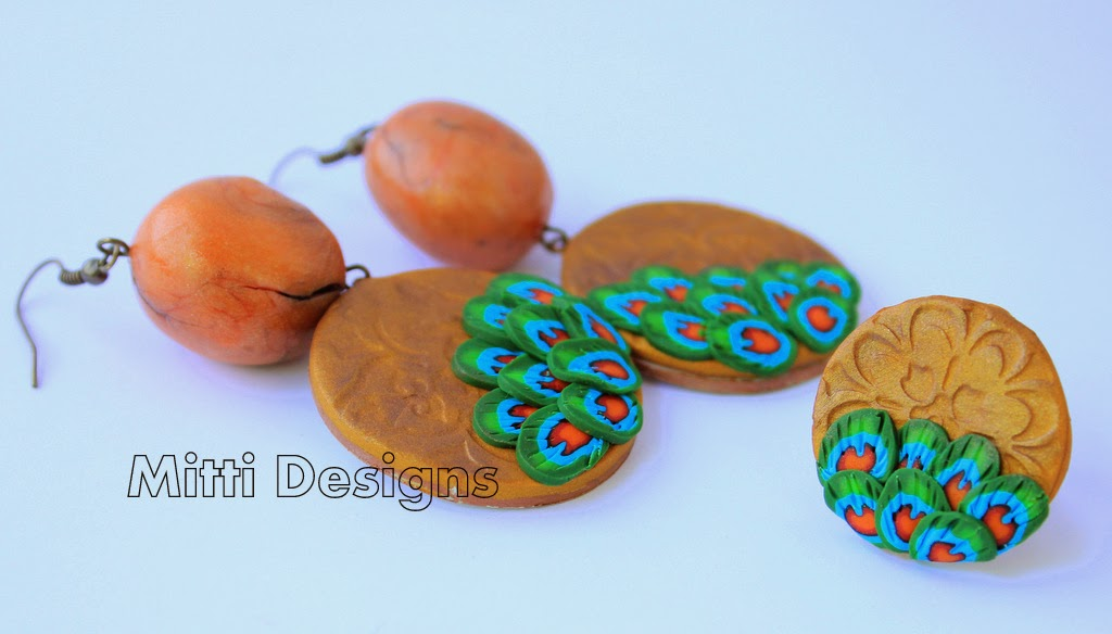 Peacock Feathers earrings,Zumka,  indian peacock, hand made, polymer clay, mitti designs, rachana saurabh,