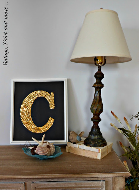 diy monogram picture made with thumbtacks