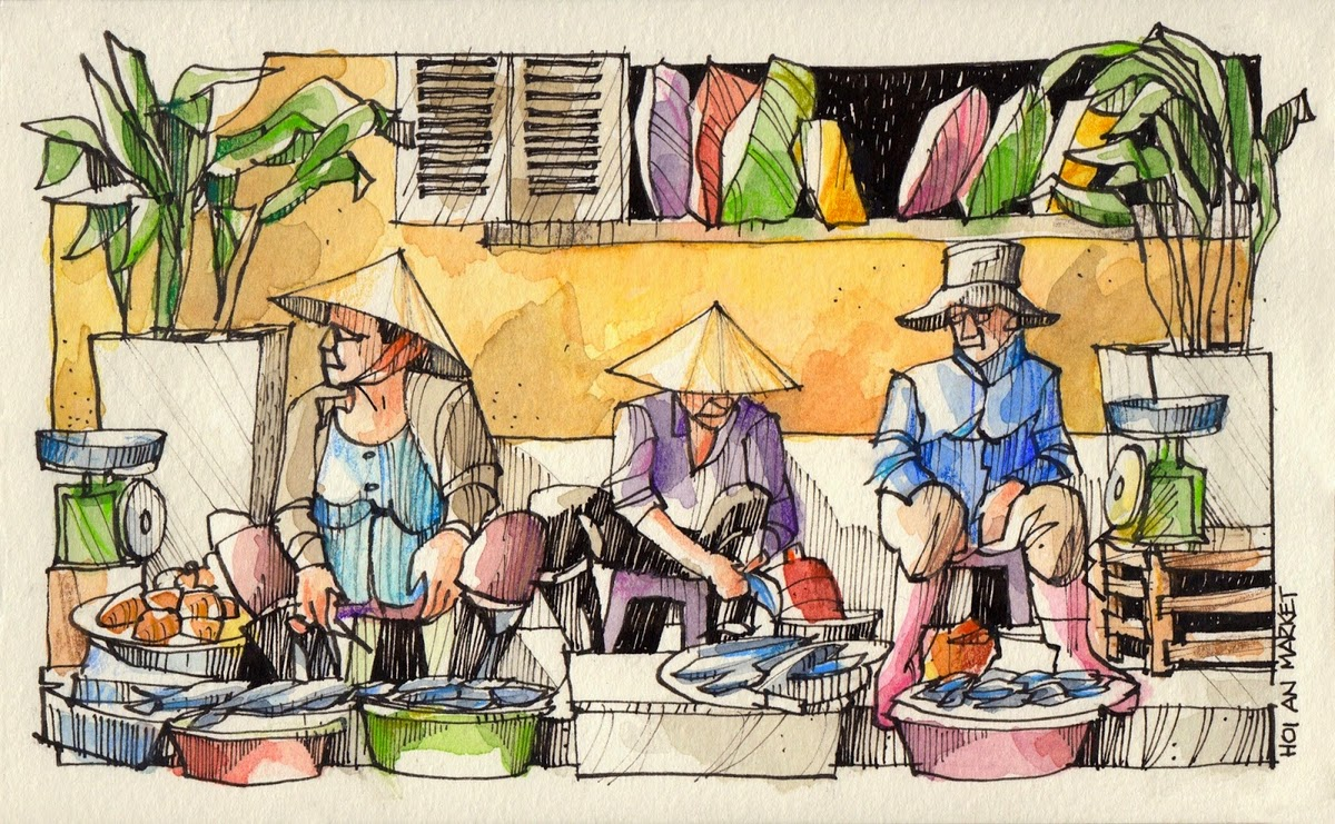 15-Three-fish-sellers-Jorge-Royan-Drawings-Sketches-of-Travel-Logs-www-designstack-co