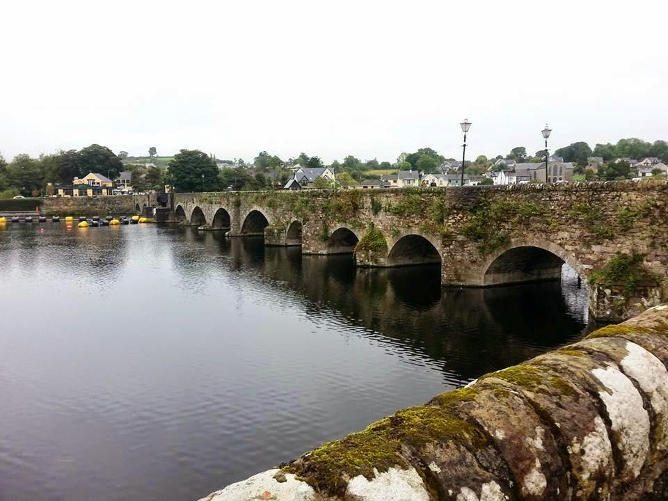 View from the Brian Boru Heritage Centre in Killaloe looking across the River Shannon toward Ballina in County Tipperary Ireland