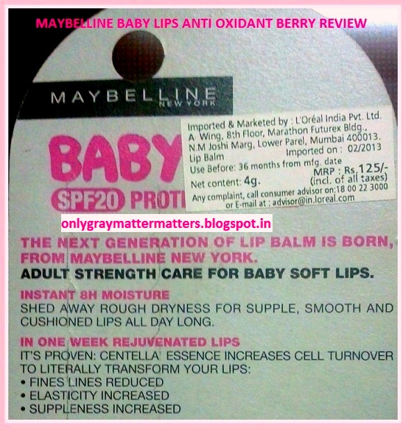 Maybelline BabyLips Lip Balm Anti-Oxidant Berry lip balm SPF 20 Review
