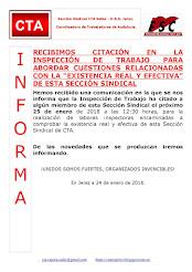 CITAN EN LA INSPECCIÓN DE TRABAJO A LA SECCIÓN SINDICAL DE CTA EN SETEX APARKI JEREZ DE LA FORNTERA
