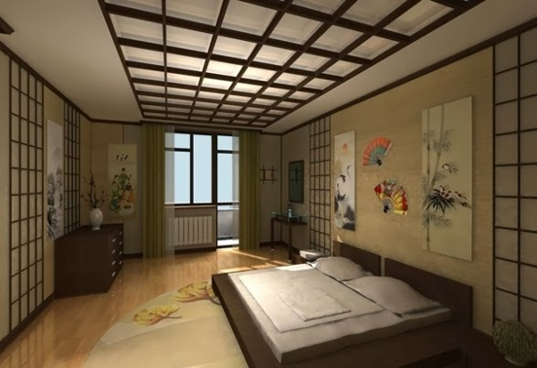 Ceiling design ideas in japanese style for Japanese bedroom ideas