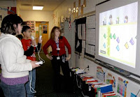 teacher and students using wii in the classroom