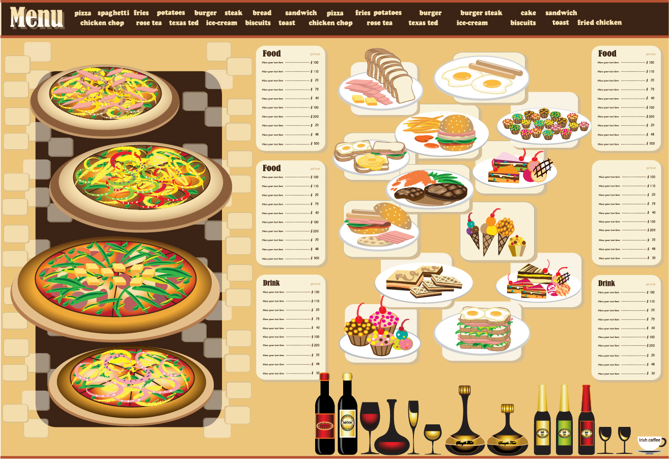 Restaurant menu design ai eps for Arabian cuisine menu