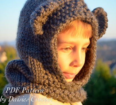 Knitting hooded cowl pattern 1