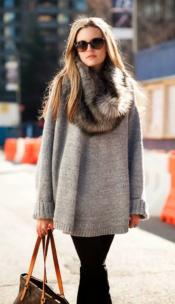 Latest winter street fashion with oversized sweater